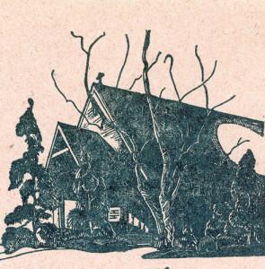 Chapel. Woodblock print by John A. Spelman III. c. 1940.