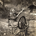 Aunt Sal, spinning at her small loom in her yard at the Creech homeplace