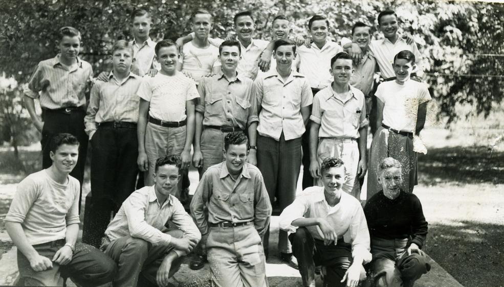 Joe Bramlett Album - Students, boys at the school c. 1945-46 (Photo by Arthur Dodd)