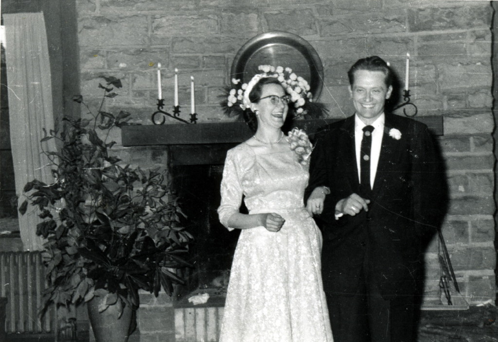 Margaret Nace and Robert Starbucks at their wedding, c. early 1950s. Laurel House, living room. [X_100_workers_2595_mod.jpg]