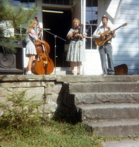 "The Urquhart Family Band on steps of Burkham School House, c. 1983. Note ""Honesty"" stone in foundation. [X_100_workers_2613_mod.jpg]"