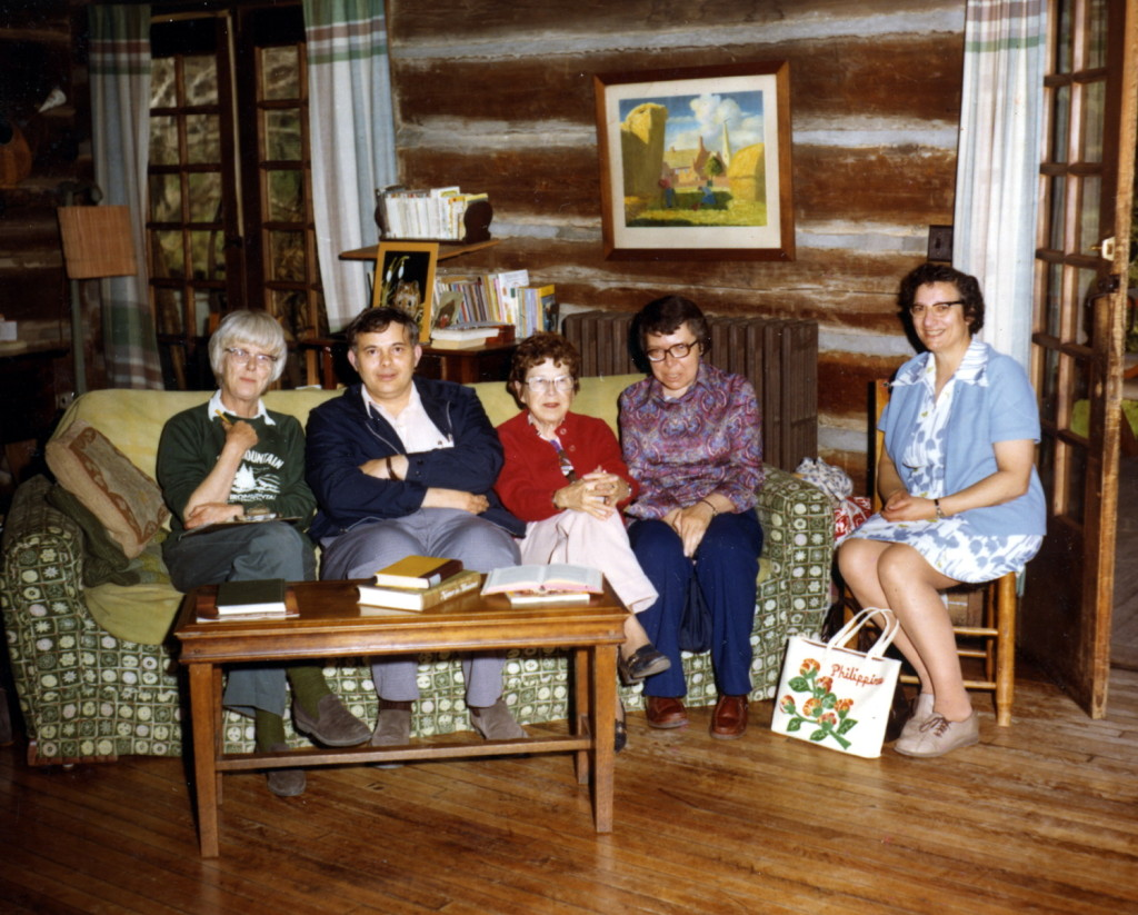 Mary Rogers, Bill Leach, Alice Cobb, ?,Marion Leach ?, and Milly Mahoney in living room of Big Log, c. 1970s. X_100_workers_2657_mod.jpg