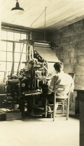Print Shop, c. 1941. Unidentified person operating a linotype. [angel_0022.jpg]