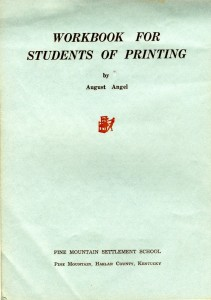 Title Page -- Workbook for Students of Printing by August Angel, 1942.