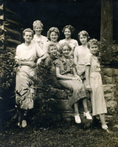 PMSS Octet members, 1937 - (l-r) Georgia Dodd, Lucille Christian, Nan Milan, (seated) Fern Hall, Joan Ayers, Ruth Christian, Lela Christian, Ruby Ayers [pmss_octet0002a_mod]
