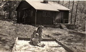 Susie Hall Angel and daughter, Ann, in front of their home on PMSS campus, Jubilee House, 1943.