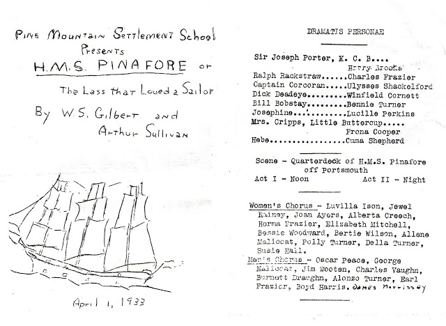 "Program for presentation of ""H.M.S. Pinafore"" at Pine Mountain Settlement School, 1933."