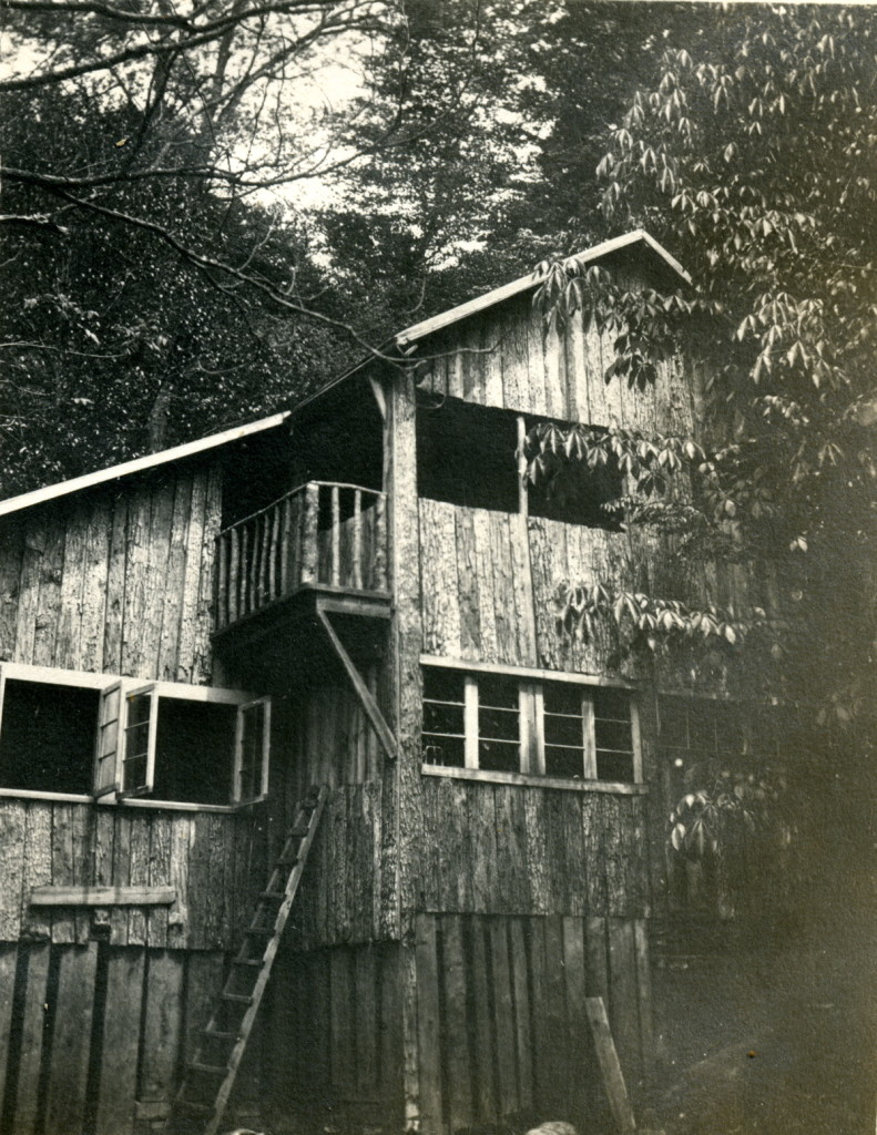 View of south flank of Open House showing balcony and two levels, including sleeping porch at top. hook_album_2blk__044.jpg