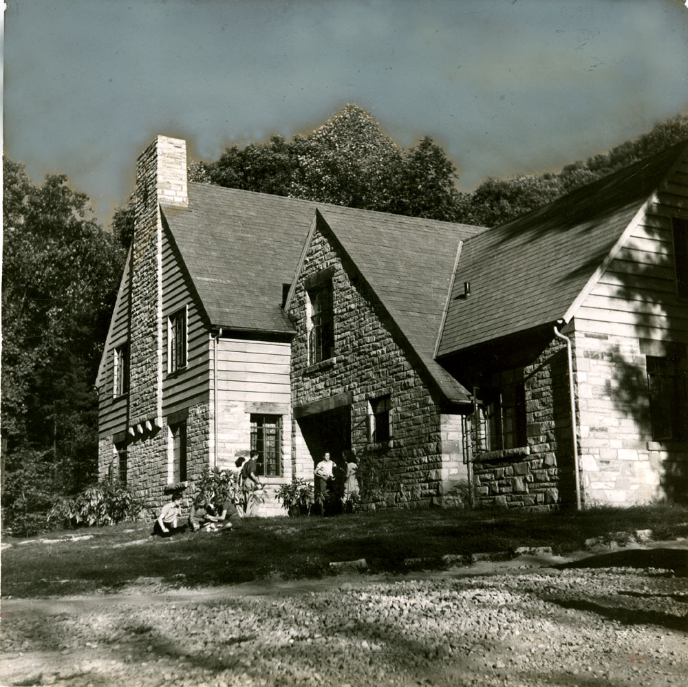 Laurel House II, raking view of facade. Tinted sky. Arthur Dodd, photographer.