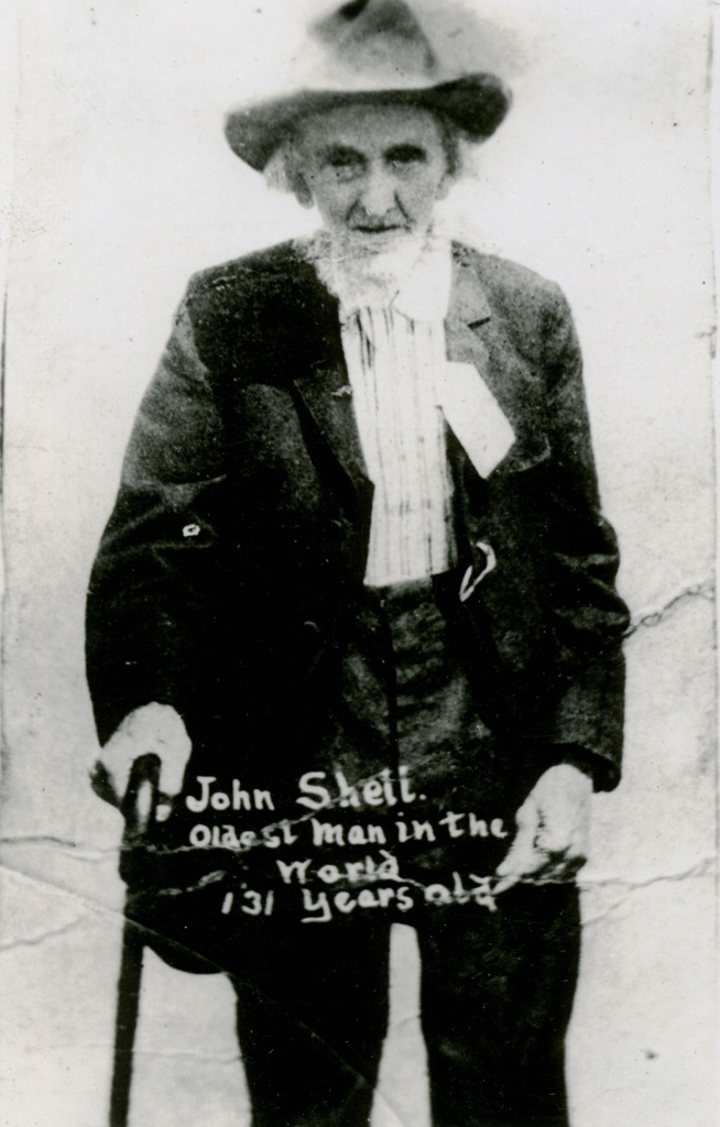 """John Shell, Oldest Man in the World, 131 years old."""
