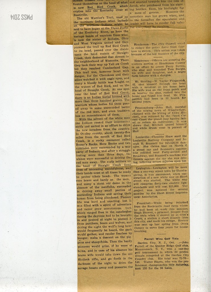 """""""Old Wilderness Road One Best Early Highways. Ran from Hosten [Holsten] River, Virginia, Through Middlesboro and Cumberland Gap to Mouth of Otter."""" OPENED JUST BEFORE BEGINNING OF REVOLUTIONARY WAR."""" Middlesboro Daily News, March 26, 1923.  p.02"""