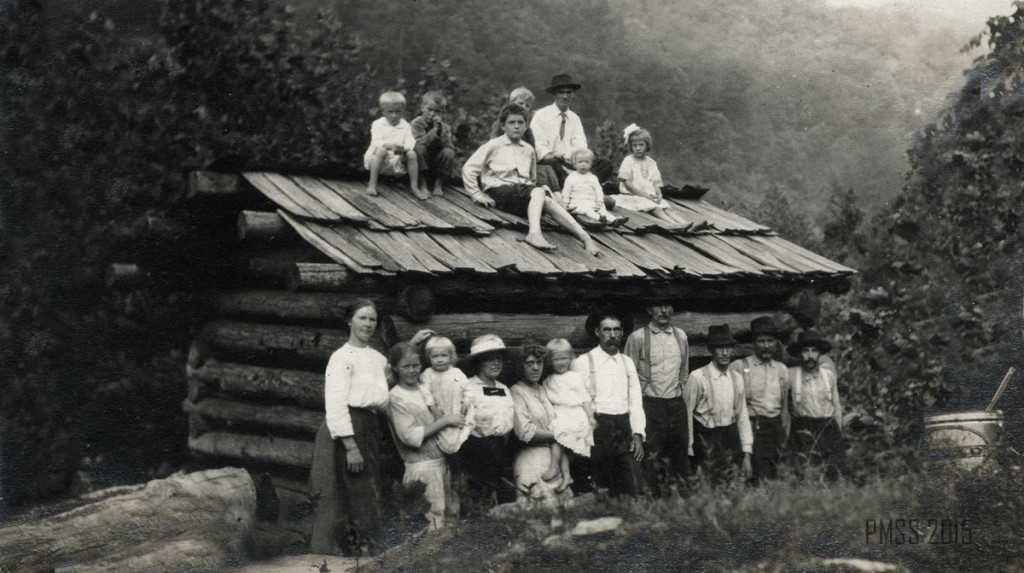 WILLIAM BROWN AUTOBIOGRAPHY: log cabin schoolhouse surrounded by adults and children