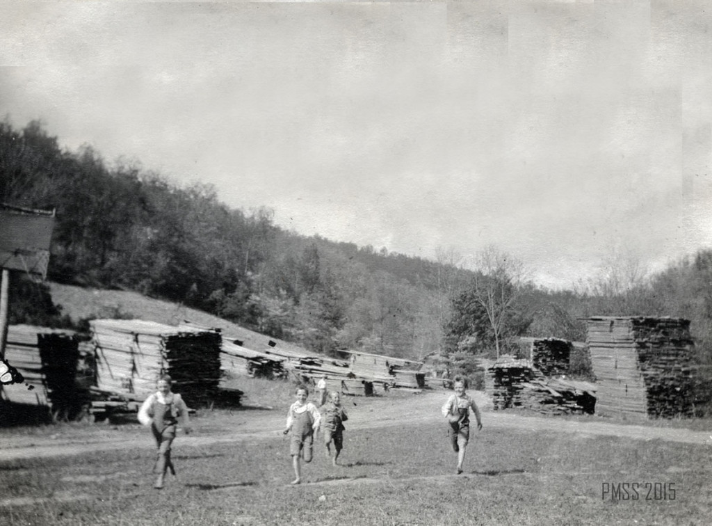 Sawmill. Stacked lumber waiting to dry for use in campus building, c. 1914-15 roe_027b.jpg