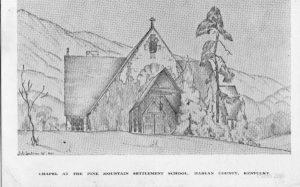 Chapel sketch by John Spelman III, c. 1940. Barbara Spelman Correspondence. [spel_b_012b.jpg]