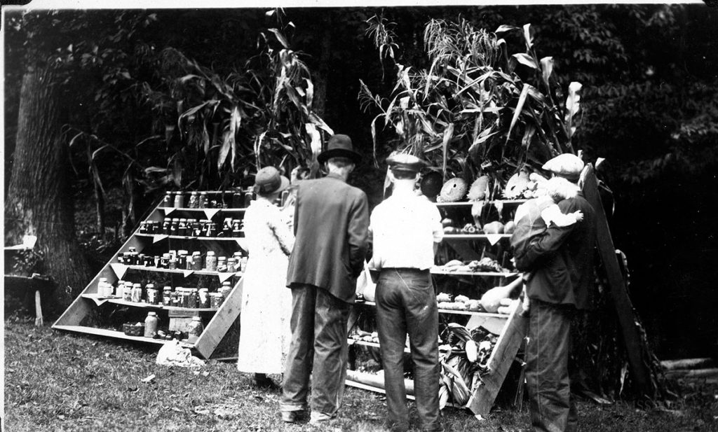 1933 Fair Day. Viewing exhibits.