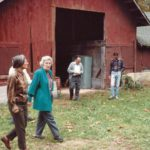 Paul Hayes(center) with BOT members (M. Pride) and Ben Begley to far rt. at PMSS Barn. Building and Grounds Committee, c. 1984.