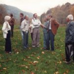 Ruth Shuler Dieter, ?, Ben Begley, Bill Hayes, Milly Mahoney, ?, Jane Bishop, James Greene, Burton Rogers - Building and Grounds Committee at PMSS, c. 1984.