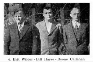 Brit Wilder, Bill Hayes, Boone Callahan. Excerpt from the 1943 Pine Mountain Family Album, page 4. [1943_family_album_photo_brit.jpg]