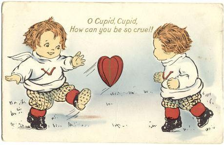 Scan of a Valentine greeting card depicting Cupids circa 1900. By Chordboard - Self, from material in my possession. Public Domain.[https://commons.wikimedia.org/w/index.php?curid=4310719]
