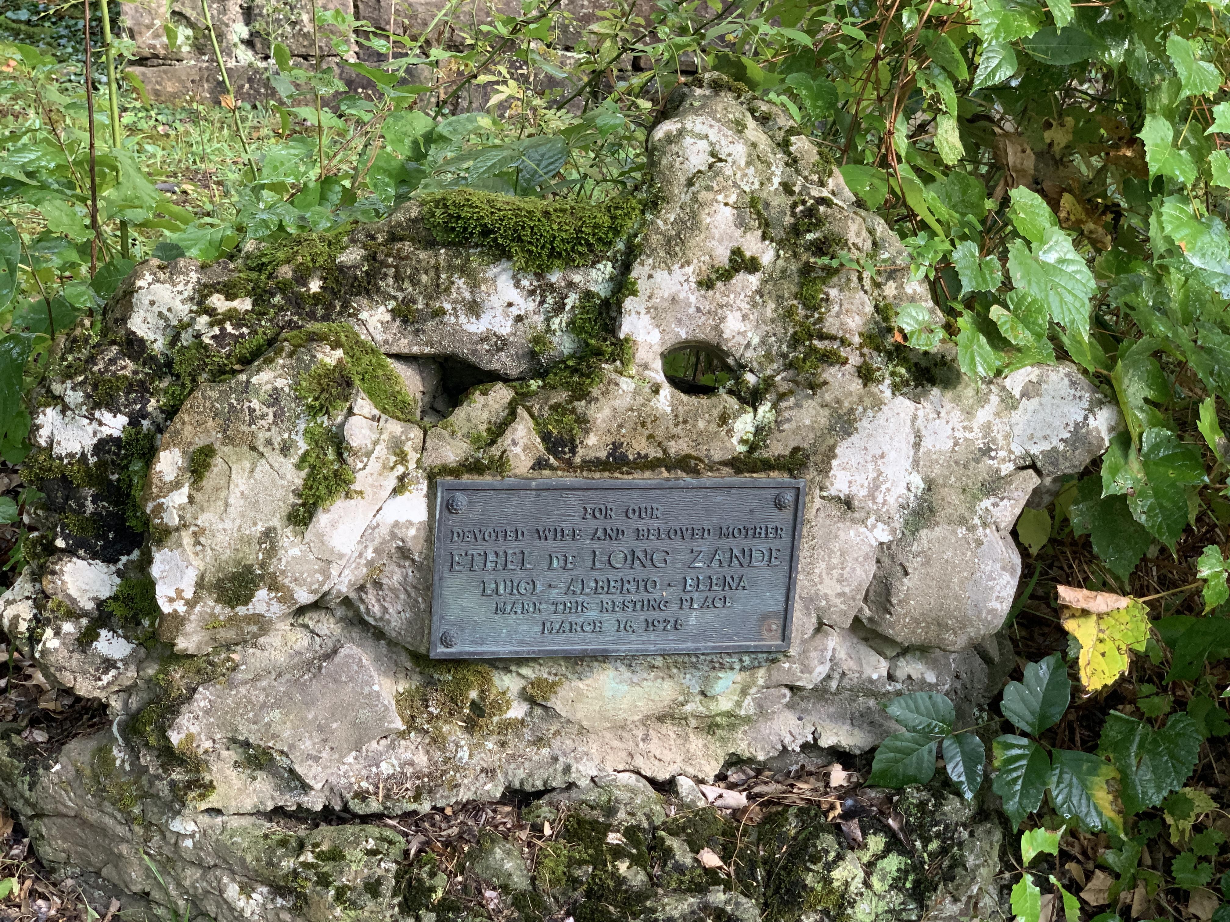 Grave marker for Ethel de Long Zande. March 16, 1928.