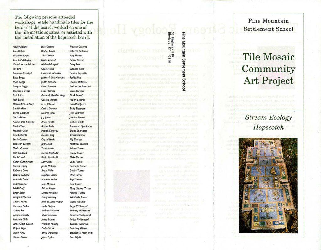 Brochure for Stream Ecology Hopscotch