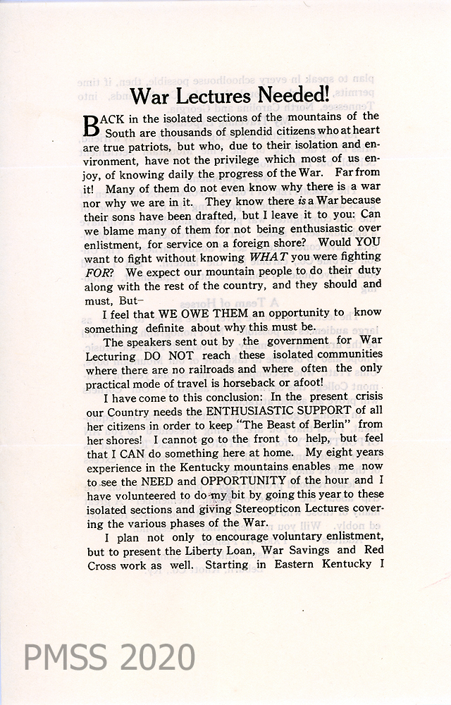 circular announcing lectures, p. 1