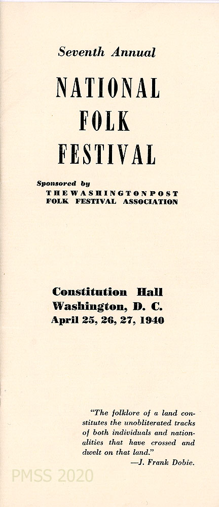 PUBLICATIONS RELATED 1940 7th Annual National Folk Festival Guide